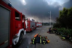 Firemen rest