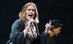 Adele performing on Glastonbury's Pyramid stage.