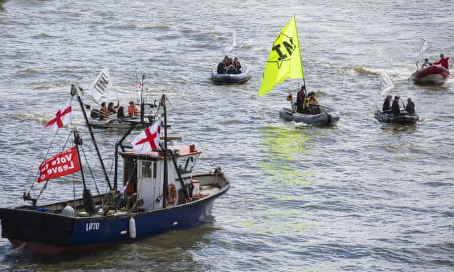Boats in the anti-EU flotilla.