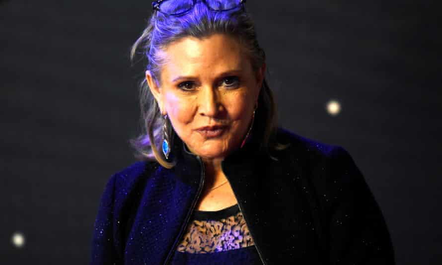 Carrie Fisher arriving at the European premiere of Star Wars, The Force Awakens in London in 2015.