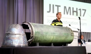 A damaged missile is displayed during a news conference yesterday by the joint investigation team inquiring into the downing of MH17.