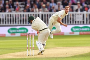 Warner, bowled by Broad for three.
