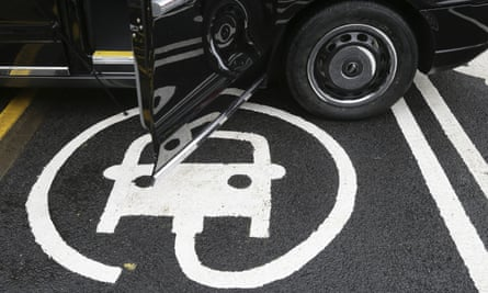 The electric car recharging sign on Holloway road, in London.