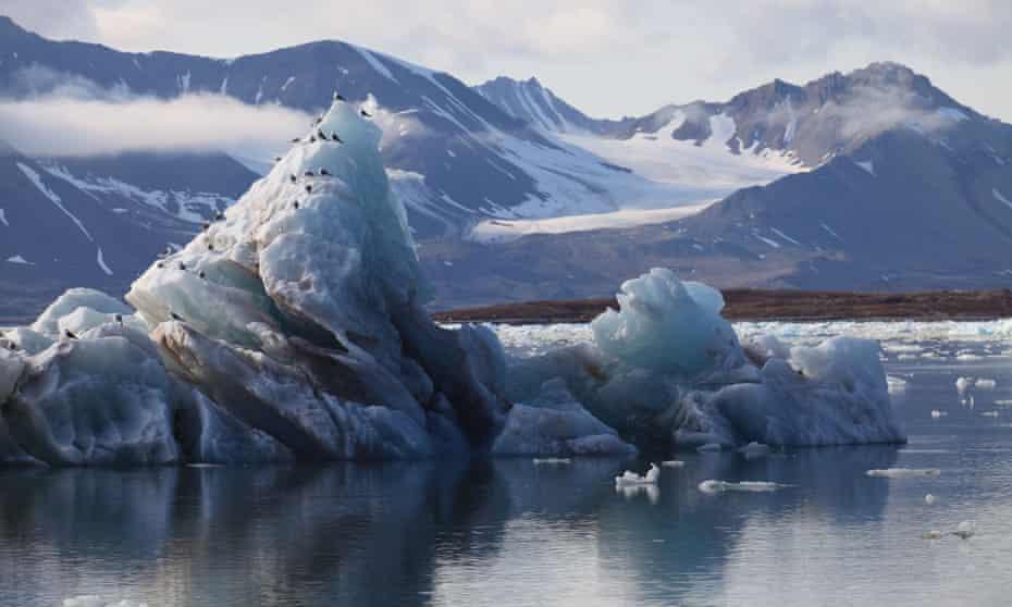 Arctic Glacier Ice Melting in Svalbard