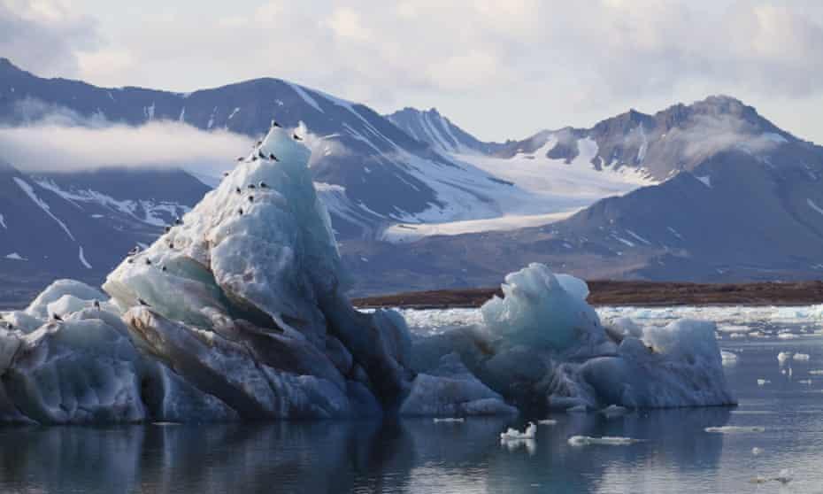 Melting glacier in Svalbard, Norway.