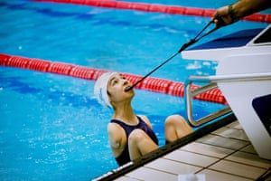 A young girl from Turkey prepares for her race at an international swimming championship, Minsk, Belarus, 2019