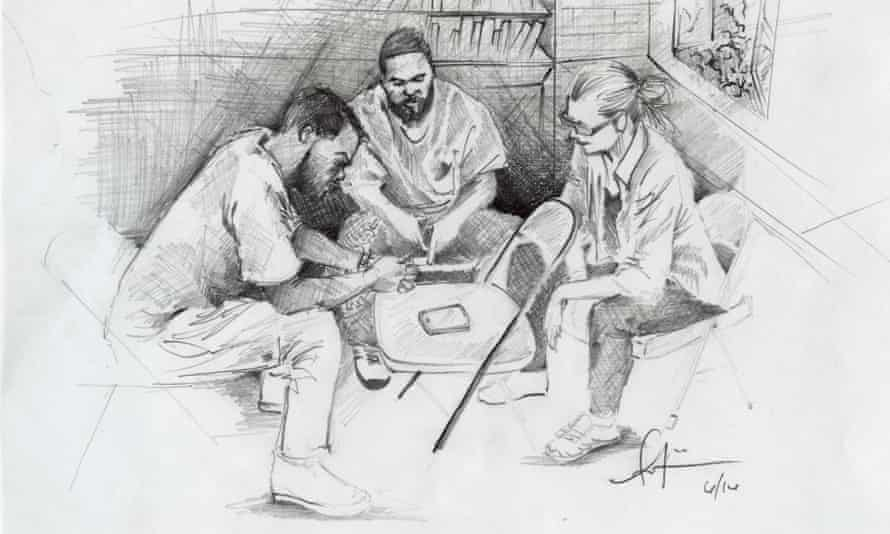 From left: Antwan Williams, Earlonne Woods and Nigel Poor, co-creators of the Ear Hustle podcast at San Quentin Prison. Illustration by Antwan Williams