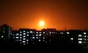 Image from a video released by the official Syrian Arab News Agency reportedly showing an explosion following an Israeli air strike on an undisclosed location.