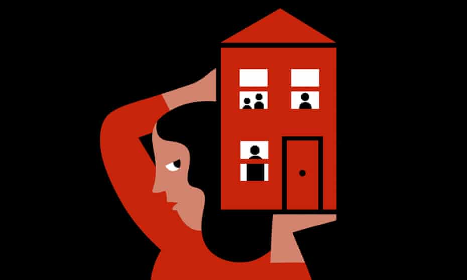 Illustration of woman carrying a red house on her shoulder, with a family in it, against black background