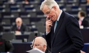 Michel Barnier, speaking in the European parliament in Strasbourg