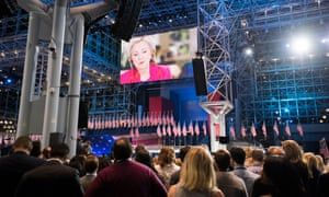 Clinton supporters respond as election results come in at The Jacob Javits Convention Center in New York.