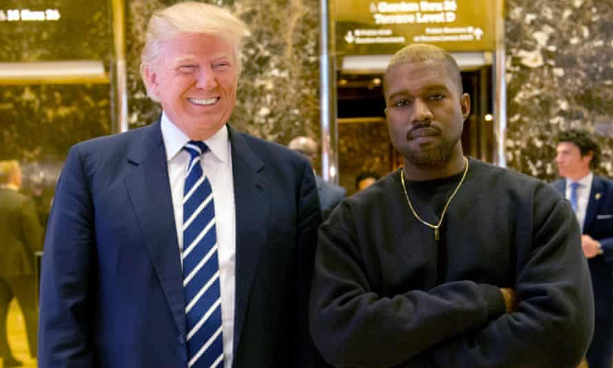 Donald Trump and Kanye West in the lobby of Trump Tower in New York.