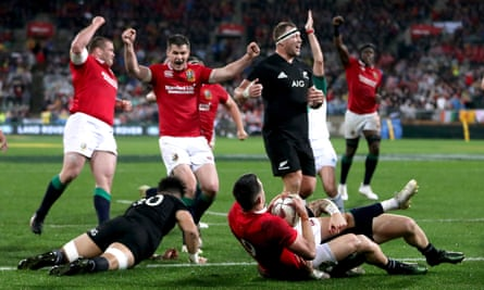 The Lions celebrate after Conor Murray scored their second try, which levelled the score against the All Blacks after Owen Farrell's conversion