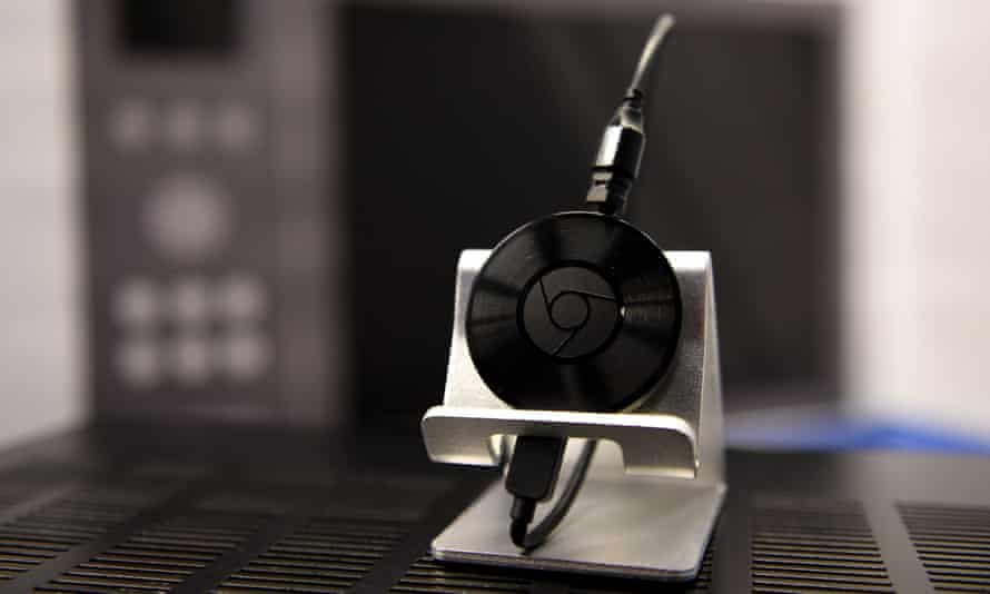 Google Chromecast puck with wires