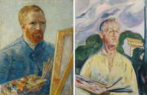 Self-Portrait as a Painter (1887-88) by Vincent van Gogh; and Self-Portrait with Palette (1926) by Edvard Munch.