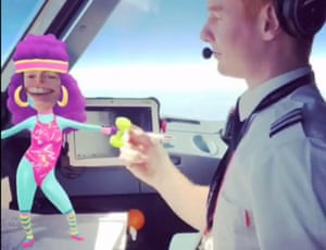 A still from the video footage of the first officer dancing with a virtual fitness instructor.