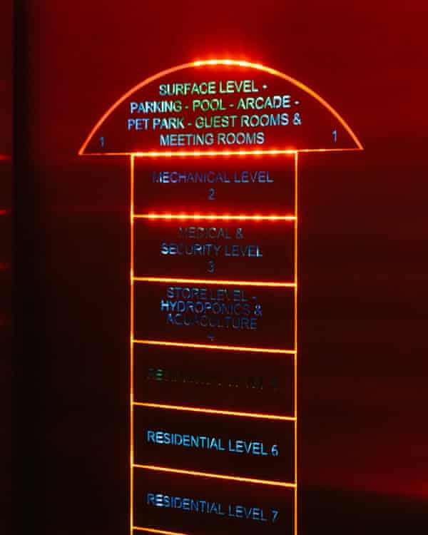 The high-speed lift features a laser-etched facility map and Star Trek's door-opening sound.