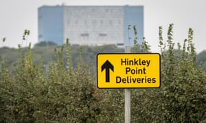 A sign directing construction traffic to the site of the new Hinkley Point power station in Somerset. (Photo by Matt Cardy/Getty Images)