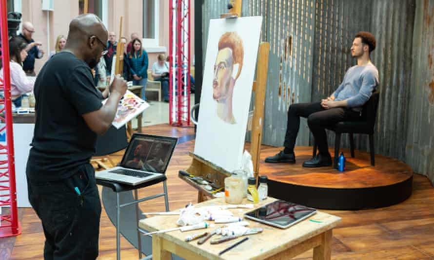 Jamael Westman sits for artist Matt Frost in the Sky Arts series Portrait Artist of the Year.