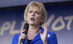 Anna Soubry speaks to demonstrators in London