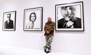 'You don't need to add a palm tree' … Bailey with his portraits of Michael Caine, Jean Shrimpton and Mick Jagger at the Gagosian, London.