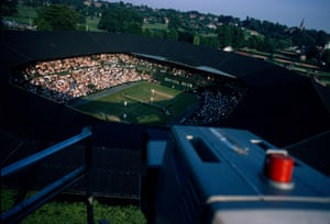 A view of Centre Court from a television gantry in 1969