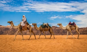 Camels in Wadi Rum, where the live action film of Aladdin was shot.