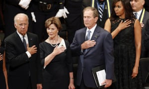 Vice-President Joe Biden, former first lady Laura Bush, former president George W Bush and first lady Michelle Obama at the service.