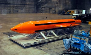A Massive Ordnance Air Blast being prepared for testing, at the Eglin Air Force Armament Center, Florida.