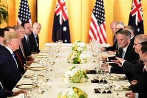 US President Donald Trump (L) attends a dinner with Australia's Prime Minister Scott Morrison (R) in Osaka on June 27, 2019, ahead of the G20 Osaka Summit.