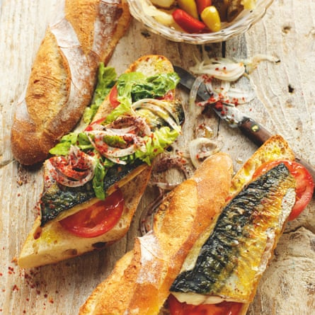 Rick Stein's balık ekmek - griddled mackerel in a baguette with tomato, lettuce, onion, chilli and sumac.