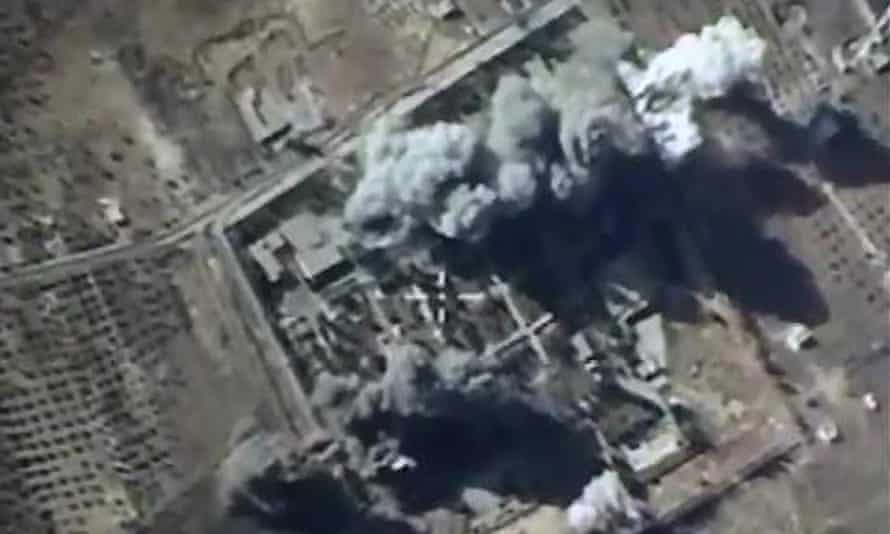 Russian air forces strike Isis targets in Syria.
