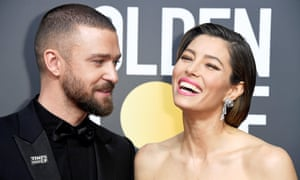Justin Timberlake and Jessica Biel at the Golden Globes awards in 2018.