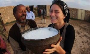 Berenika Stefanska tries some camel's milk