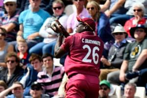 Carlos Brathwaite of West Indies catches Jonny Bairstow of England.