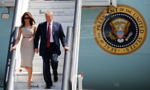 Donald and Melania Trump arrive at Stansted airport for his controversial UK visit in July, the last time the president was out of the US.