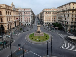 The normally busy intersection at the Piazza Giovanni Bovio, Milan