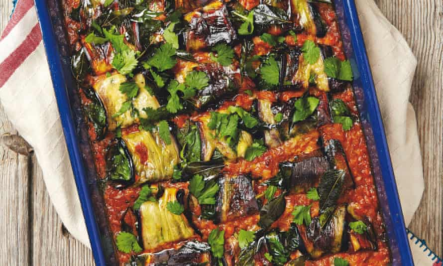 Yotam Ottolenghi's paneer-stuffed aubergine in red lentil and coconut sauce.