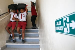Bali, Indonesia Students take part in an earthquake and tsunami evacuation drill