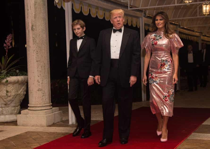 Donald Trump, Melania Trump and their son Barron arrive at Mar-a-Lago resort.