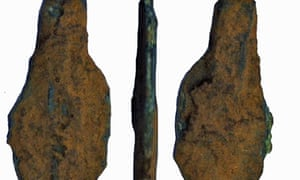 A fragment of a bronze age copper-alloy knife blade