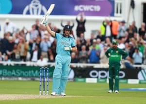 Jos Buttler of England celebrates after scoring a century.