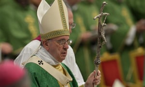 Pope Francis at the opening of the synod on the family at St Peter's basilica on 4 October.
