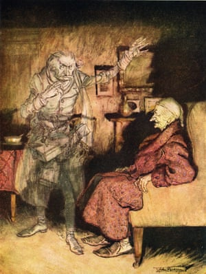 Scrooge is visited by Marley's ghost in A Christmas Carol.