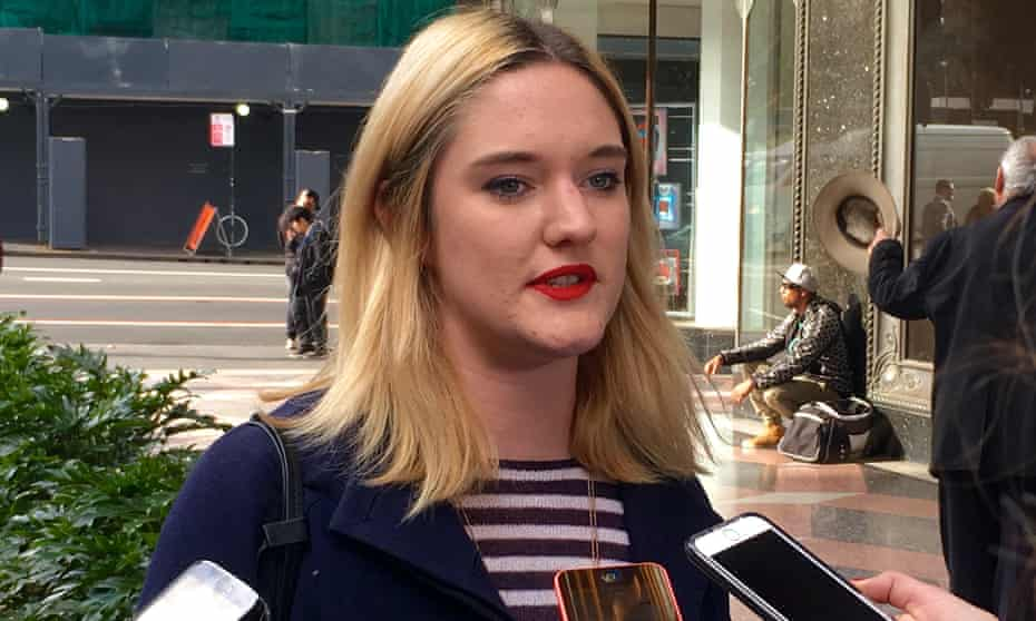 Paloma Brierley Newton speaking to reporters outside the Downing centre on Monday.