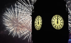 Fireworks light up the London skyline and Big Ben just after midnight on January 1, 2017