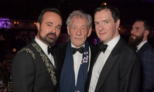 The Evening Standard's owner, Evgeny Lebedev, left, poses with Sir Ian McKellen, centre, and Osborne at the Evening Standard Theatre in November 2019.