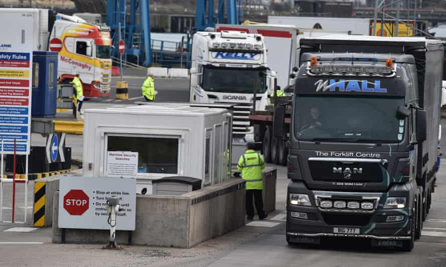 Inspection staff check freight at Larne port in Northern Ireland