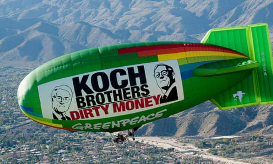 A Greenpeace airship flies over Rancho Mirage, California in January 2011.