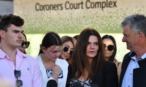 Renae Marsden's family leave the Lidcombe coroner's court in Sydney, 20 May 2020